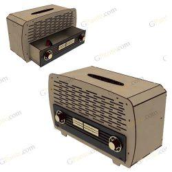 طرح رایگان برش لیزر جعبه دستمال رادیو